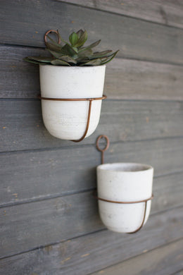 White Wash Clay Bell Pot With Copper Wall Sconce