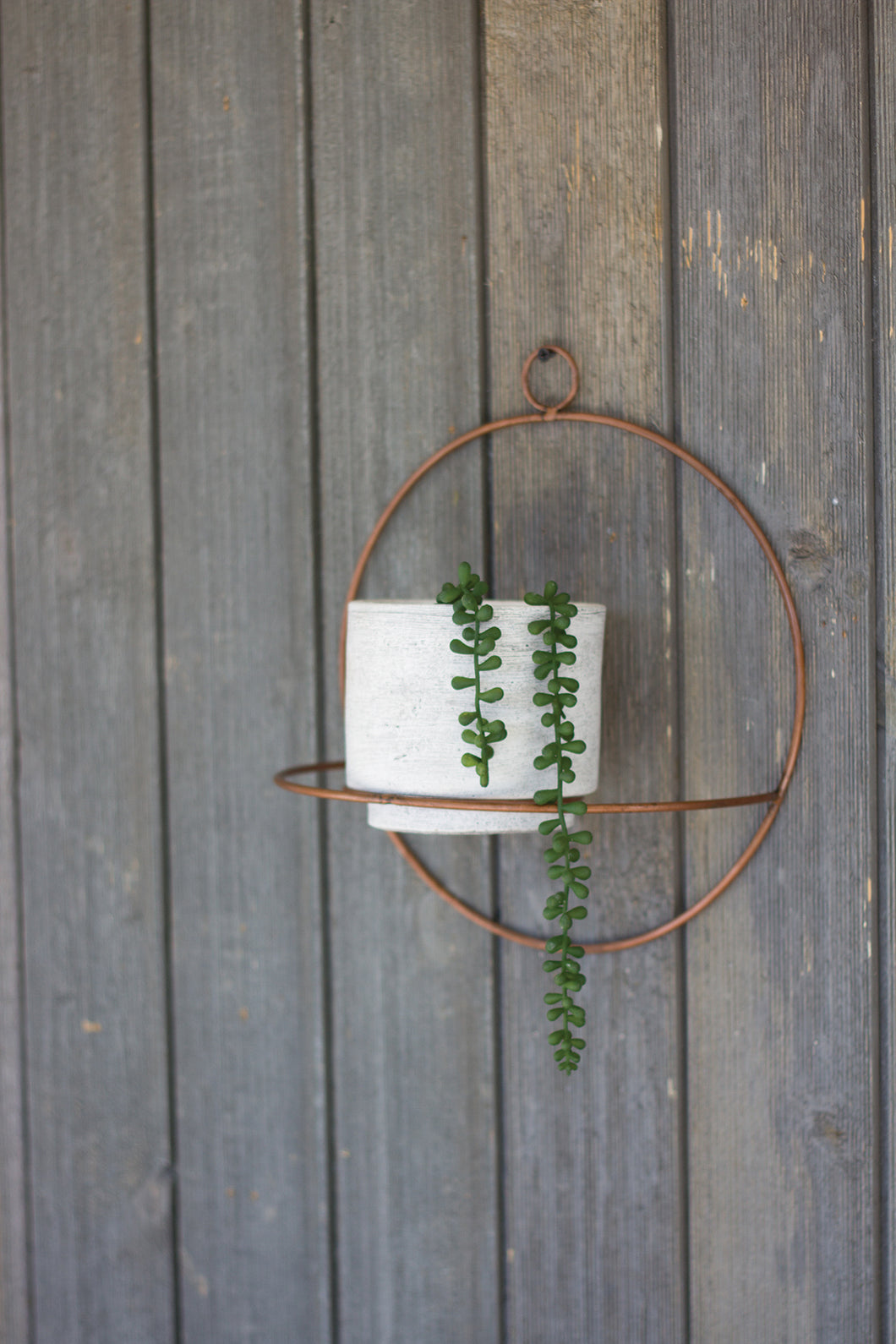White Wash Clay Pot With Copper Round Wall Sconce