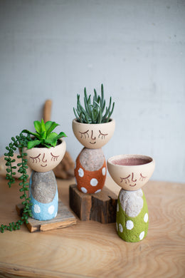 Clay Face & River Rock Planters