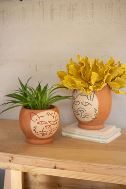 Abstract Cat Face Pots