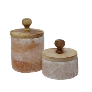 Himalayan Salt Boxes With Wooden Lids