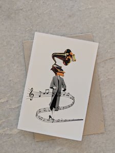 Gramophone Symphony Greeting Card -By Kiki Collagist