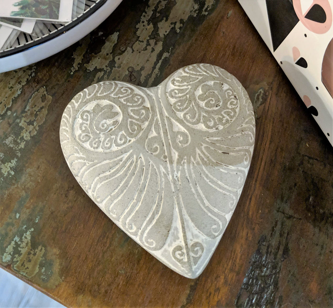 Etched Concrete Heart
