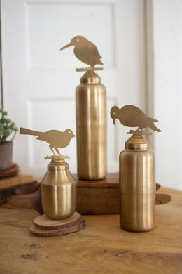 Brass Vessels With Bird Finials
