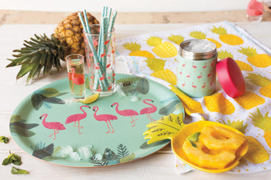 Flamingos Willow Wood Tray