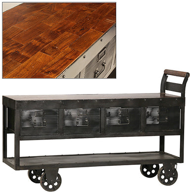 Industrial Trolley With Wood Top