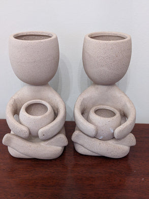 Sandstone Sitting Figure Planter