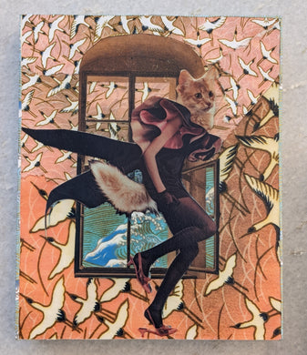 Fashion Cat in Window - Jessie Lawson Mounted Reproduction