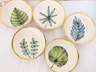 Botanical Dishes with Gold