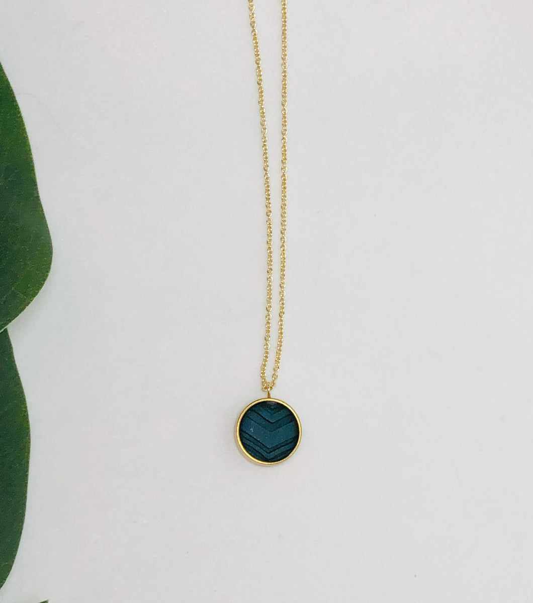 Pilea Necklace- Dark Green