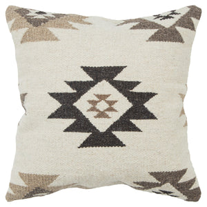 Brown, Beige & Natural Woven Dhurrie Throw Pillow Cover