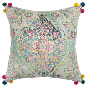 Multi Colored Pillow With Pom Poms