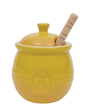 Stoneware Honey Pot w/ Wood Honey Dipper