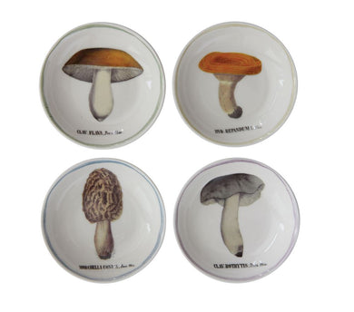 Vintage Reproduction Mushroom Plates (Set of 4)