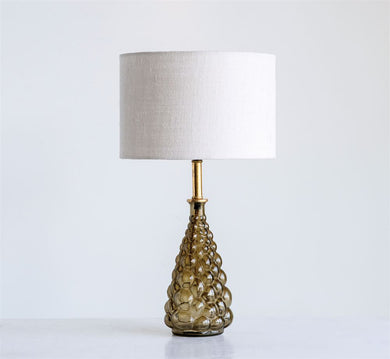 Olive Glass Table Lamp w/ Jute Shade
