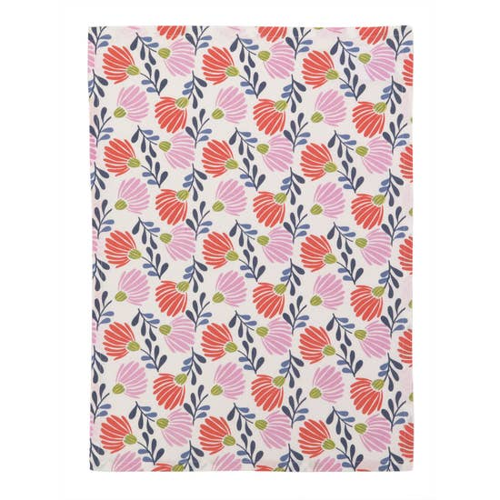 Red & Pink Dandelion Tea Towel