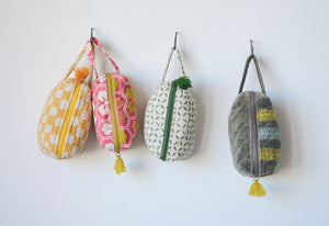 Cotton Waffle Zip Pouches with Tassels