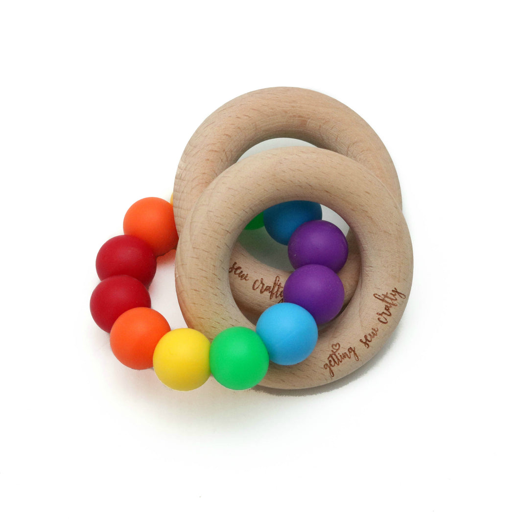 Teething Toy - Rainbow - Silicone + Wood
