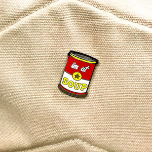 """I'm at Soup"" enamel pin - Emily Ritchie"