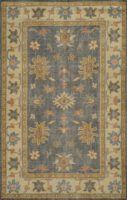 Herbal Washed Hand Knotted Rug-Multicolored Floral