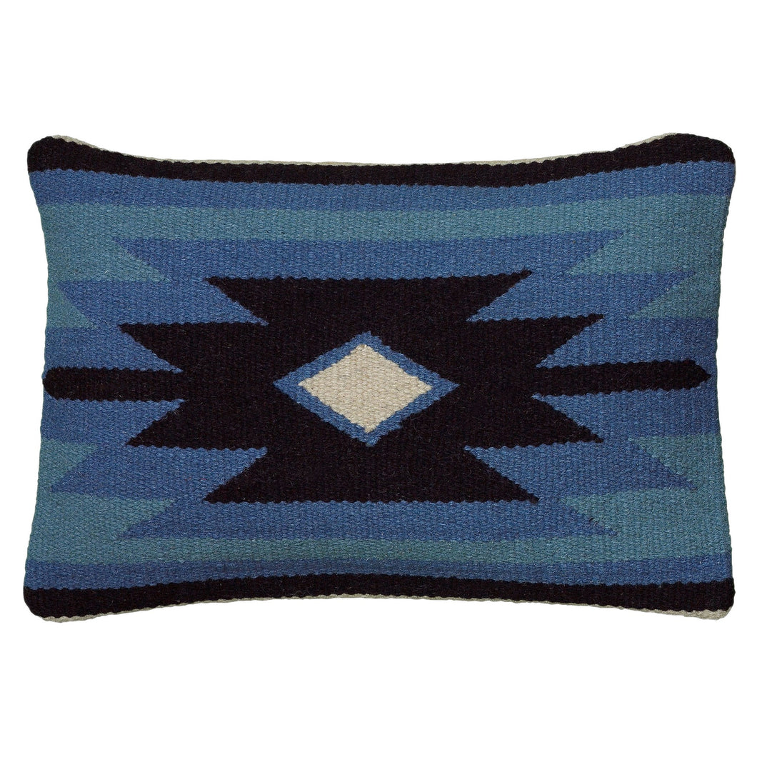Blue & Black Woven Dhurrie Throw Pillow