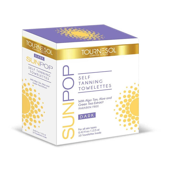 SunPop Tanning Towelettes Dark 10-Count - with Free PreTan Prep Gift!