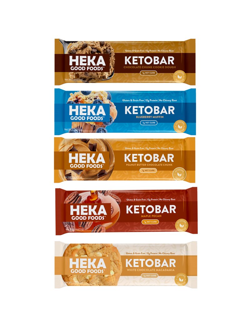Heka Keto food bars in vertical display