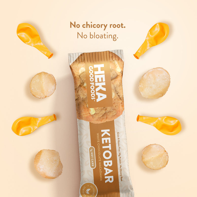 white chocolate macadamia nut Heka Good keto bar