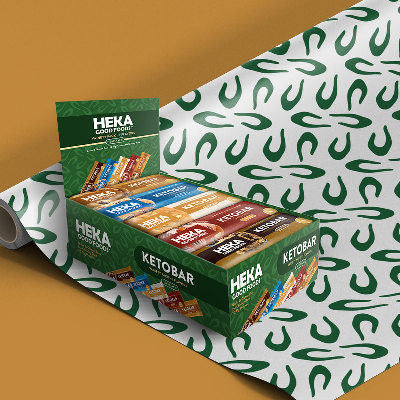display box of heka keto bars on mat