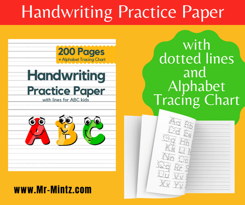 Looking handwriting practice paper for kids? Look at our kindergarten writing paper with dotted lines for ABC kids ages 3-6! Get your kids this notebook and let them write. Handy 8.5x11 size is perfect for preschoolers and toddlers to learn how to shape characters and alphabets. Thishandwriting practice notebook for kidscould be their favorite school supplies.