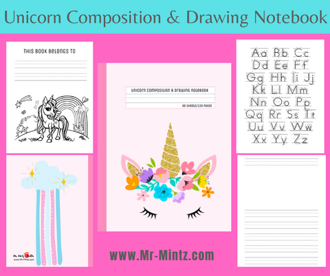 Looking for a unicorn primary composition notebook? This unicorn notebook for 6 years old girls has 120 blank pages with lines and picture space. Great for kid's early year's letter and number form practice! Great for kid's early years letter and number form practice!