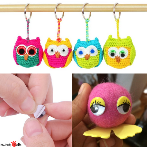 Our colorful wiggle eyes are your best choice. These Wiggle eyes with eyelashes are perfect for any scrapbooking, handcrafts, doll making, invitation cards decoration and so much more embellishments.