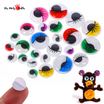 Self Adhesive Wiggle Googly Eyes with Eyelash. 7 colours. 42 pcx