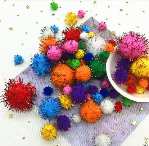 Multi-Color Glitter Pom Poms. Assorted Sizes. 200pcs