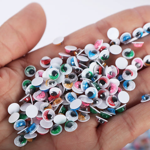 Multicolor Self Adhesive Wiggle Googly Eyes with Eyelashes. 250 pcx