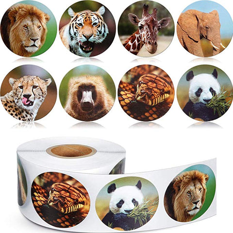 Realistic Zoo Animal Roll Stickers (500 Pieces)