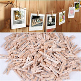 Sturdy Mini Wooden Craft Clothespins. Pack of 50 Clips