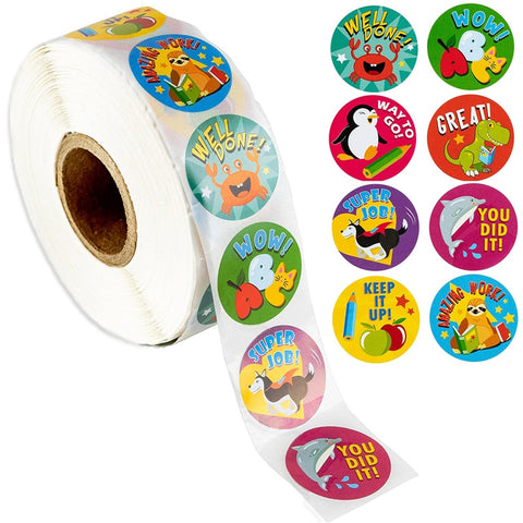 Animal Reward Stickers for Kids. 500pcs per roll