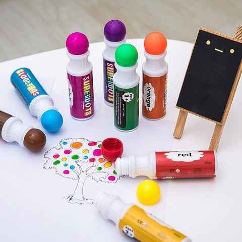 Dot markers are a great alternative to crayons for children who are learning to create art. Children simply press the marker down on the paper to create a splash of color. They can repeat the process to come up with their own unique, colorful creations.