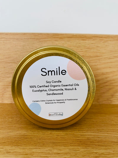 Katies Beauty Kitchen | Smile Organic Essential Oil Travel Tin Candle | Katies Beauty Kitchen