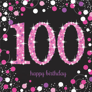 Sparkling Celebration 100th Napkin Pink