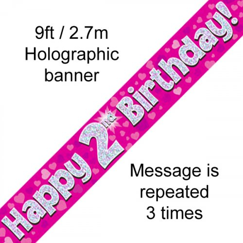 Pink Holographic Happy 2nd Birthday Banner 2.7m P1