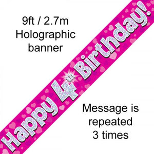 Pink Holographic Happy 4th Birthday Banner 2.7m P1
