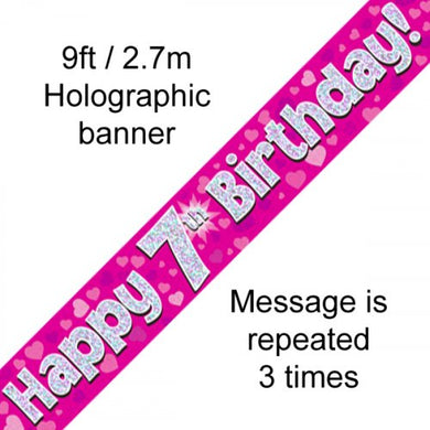Pink Holographic Happy 7th Birthday Banner 2.7m P1