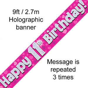 Pink Holographic Happy 11th Birthday Banner 2.7m P1