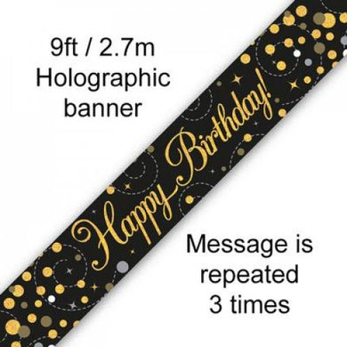 Sparkling Fizz Black & Gold Birthday Banner 2.7m