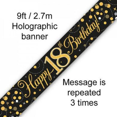 Sparkling Fizz Black & Gold 18th Birthday Banner 2.7m