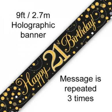 Sparkling Fizz Black & Gold 21st Birthday Banner 2.7m