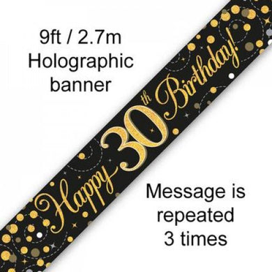 Sparkling Fizz Black & Gold 30th Birthday Banner 2.7m