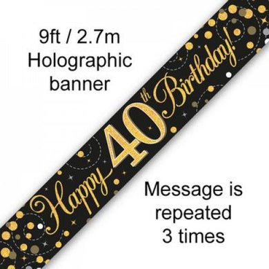 Sparkling Fizz Black & Gold 40th Birthday Banner 2.7m
